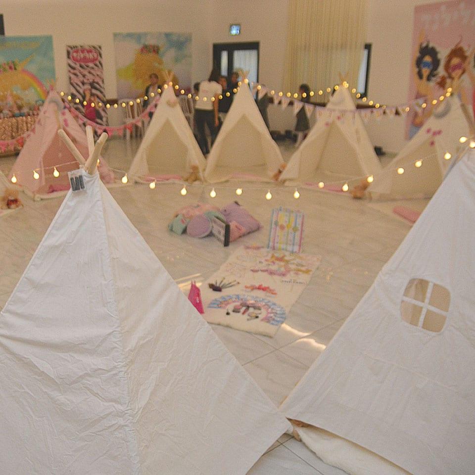 יום הולדת חד קרן אוהלים תפאורה לאלילנד
