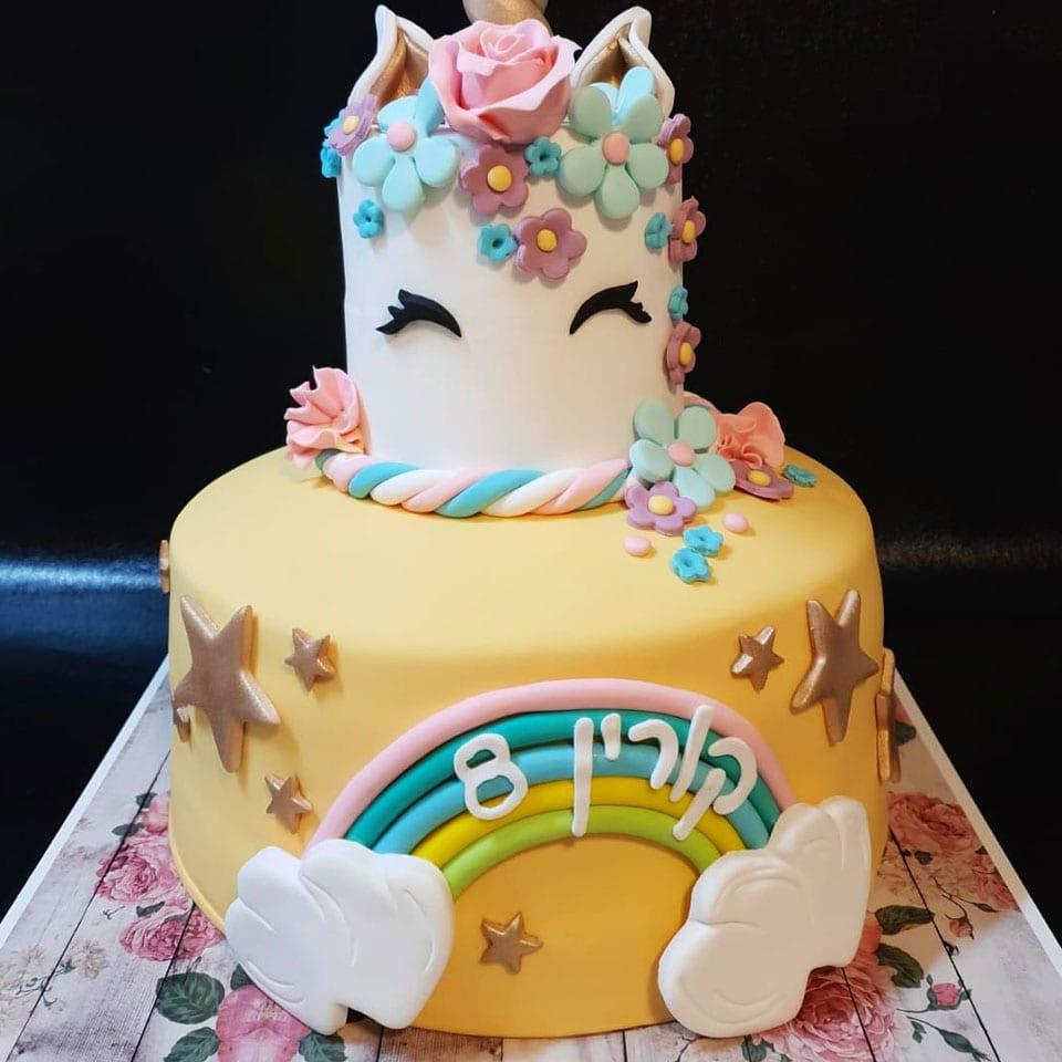 יום הולדת עיצוב בצק סוכר לאלילנד טקס עוגה