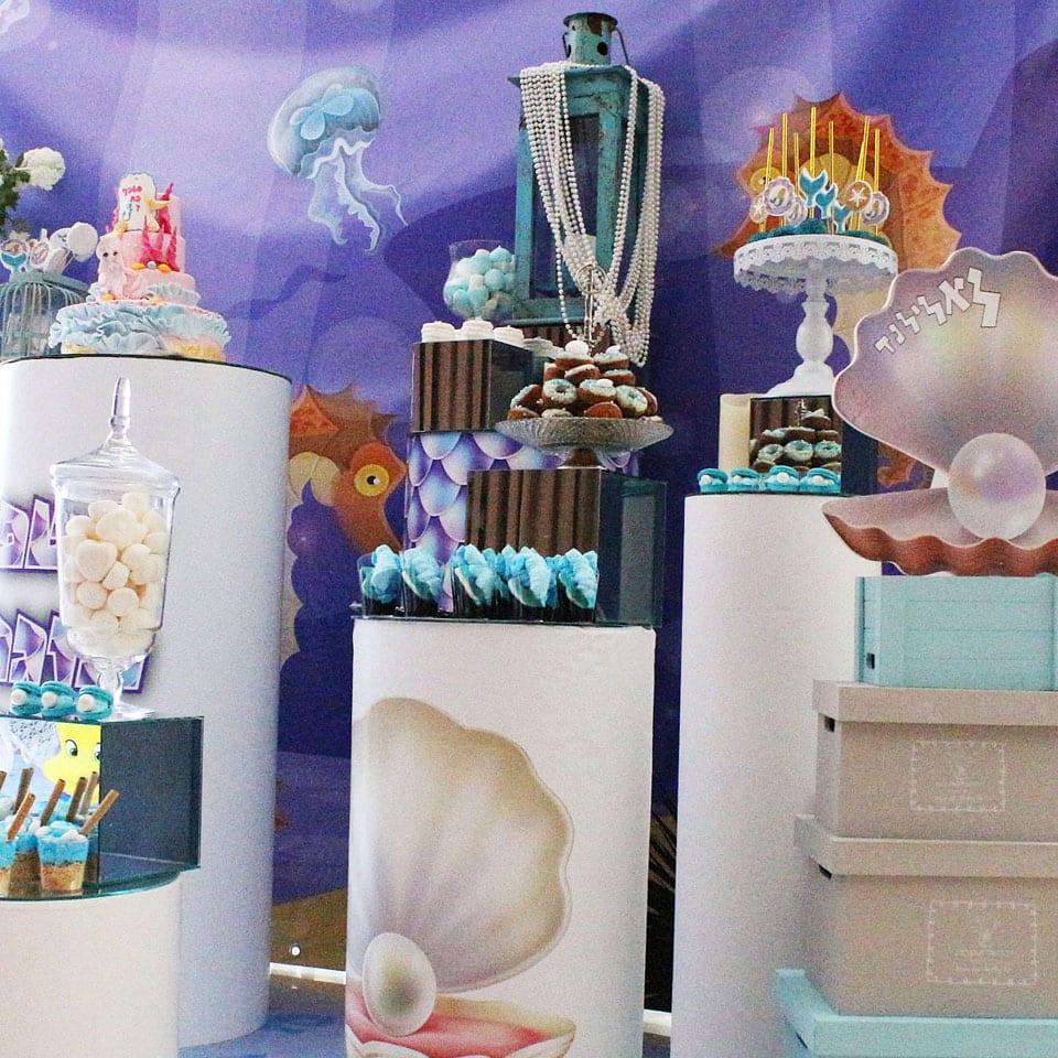 שולחן מעוצב יום הולדת בת הים