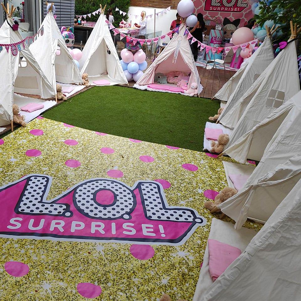 מסיבת פיג׳מות לול LOL תפאורה ואוהלים לאלילנד