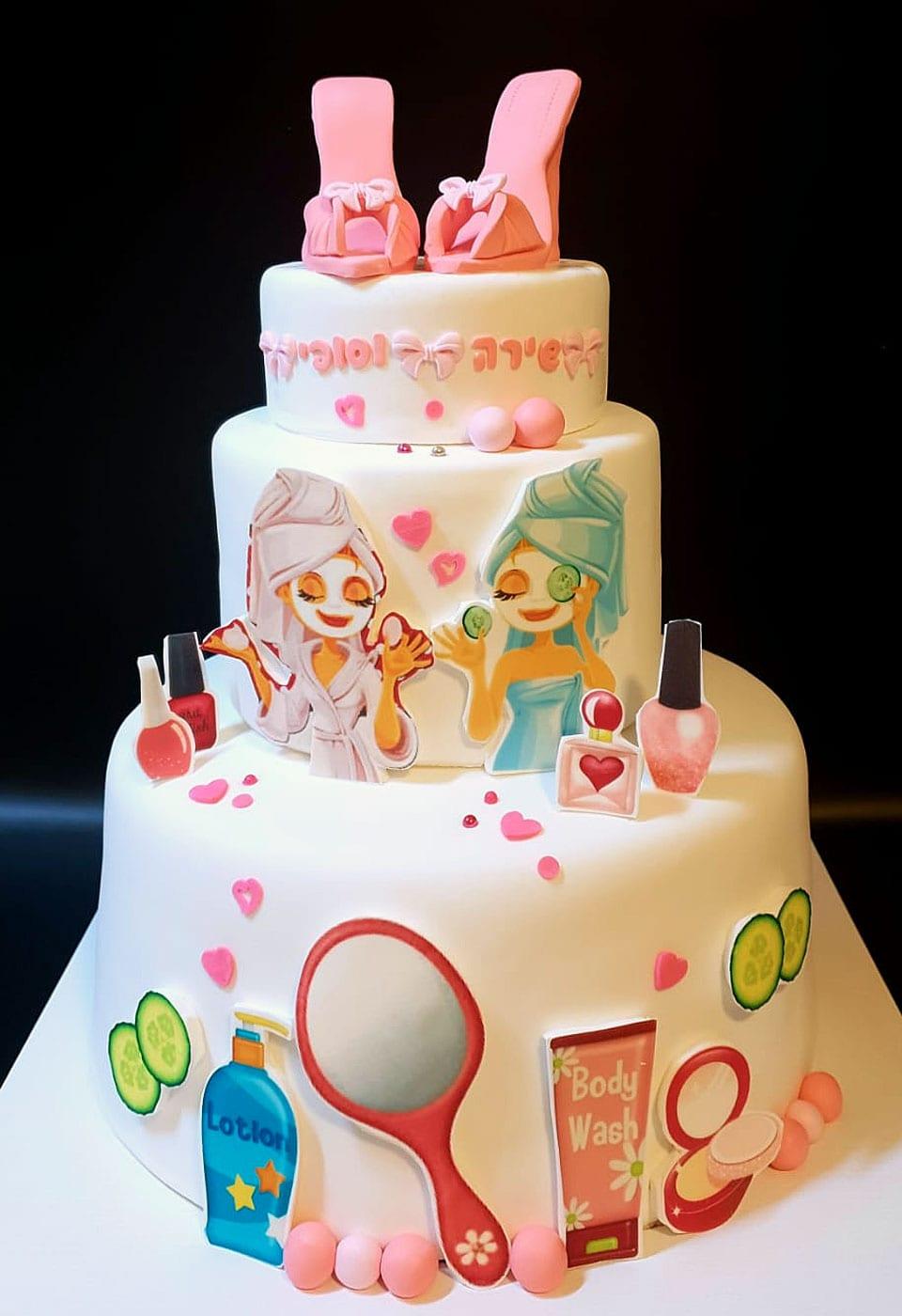 עוגת יום הולדת ספא לבן