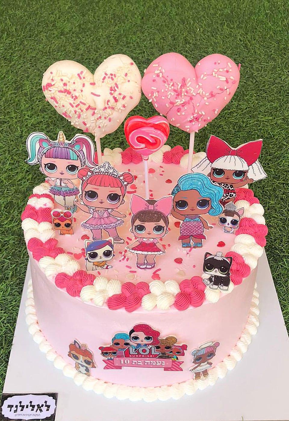 עוגת יום הולדת לול לבבות