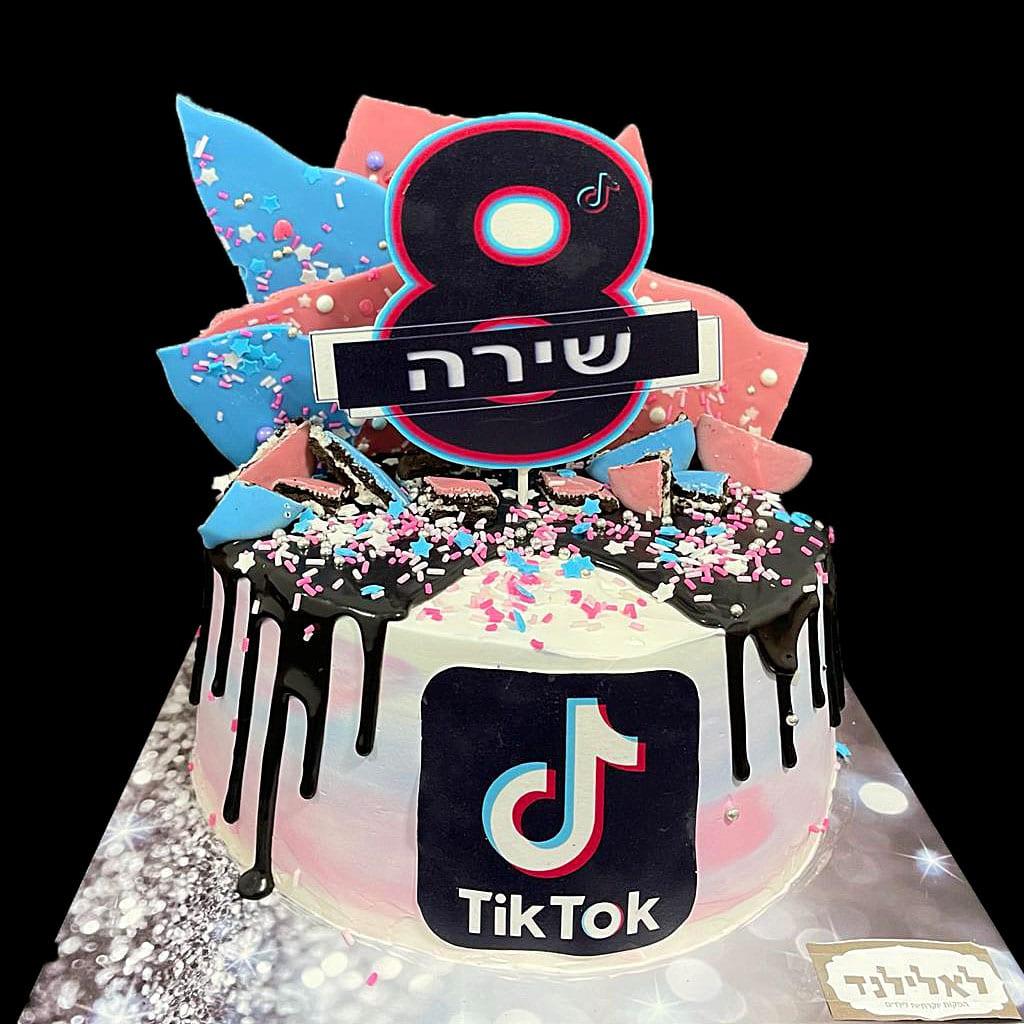 עוגת טיקטוק קונפטי